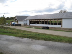 Back view of Hinesburg, Vt. 70 x 180 Arena w/32 x 92 Stable